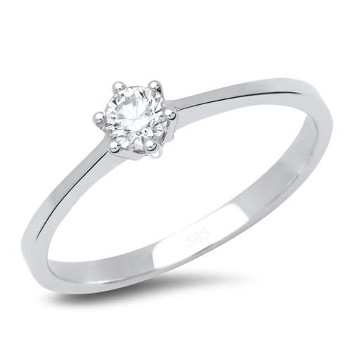 Verlobungsring 14k Weissgold Mit Brillant 0 2 Ct Gunstig Online